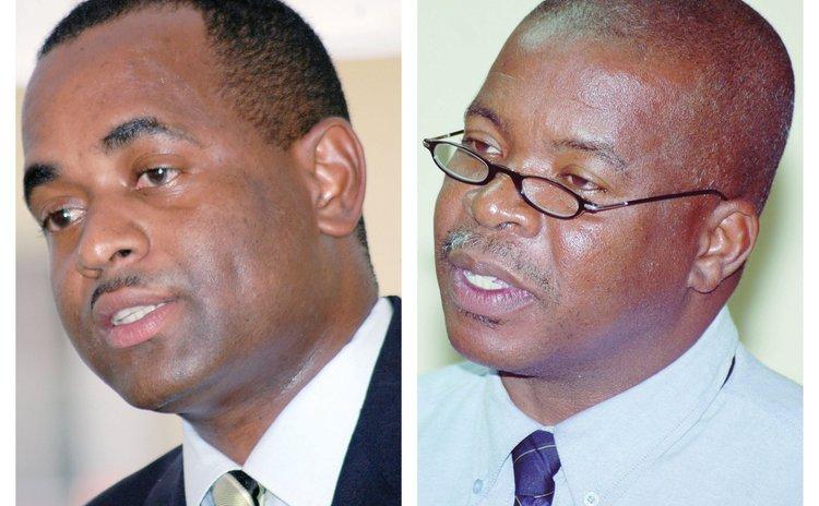 Left, Prime Minister Roosevelt Skerrit and DPSU Secretary General Thomas Letang