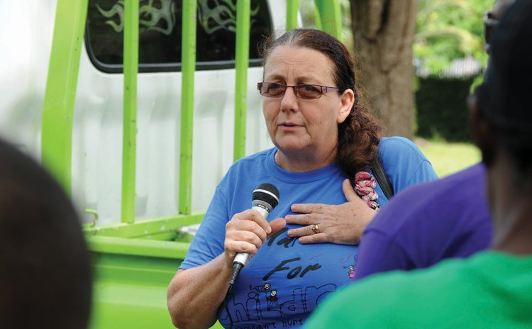 Tina Alexander at a child abuse march at the Botanic Gardens, Roseau
