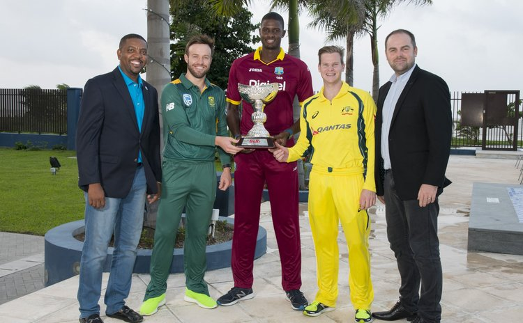 "WICB President Whycliffe ""Dave"" Cameron, South Africa captain AB de Villiers, West Indies captain Jason Holder, Australia captain Steve Smith, and Ballr founder and CEO Sam Jones with the Ballr Cup"