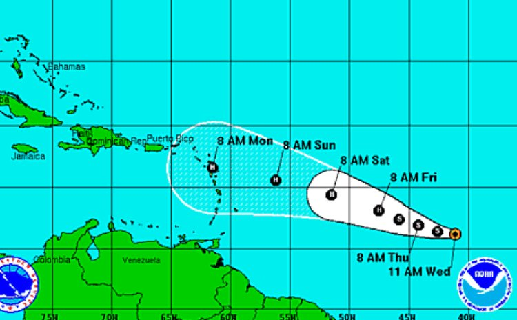 Graphic of  the position of Tropical Storm Danny