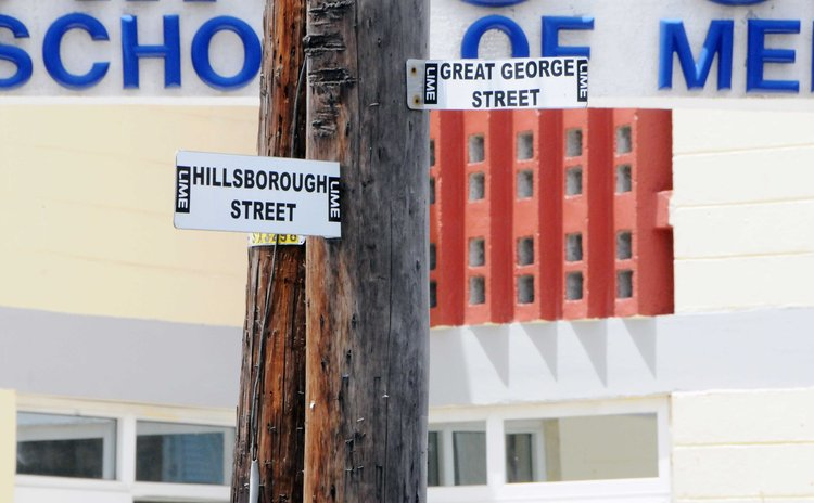 Street names labels on electricity post