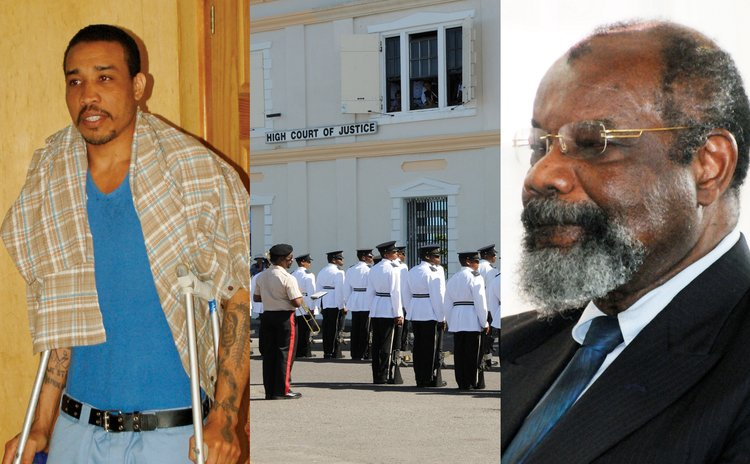 Left to right: Tyson during the first trial,Dominica's High Court and Justice Errol Thomas