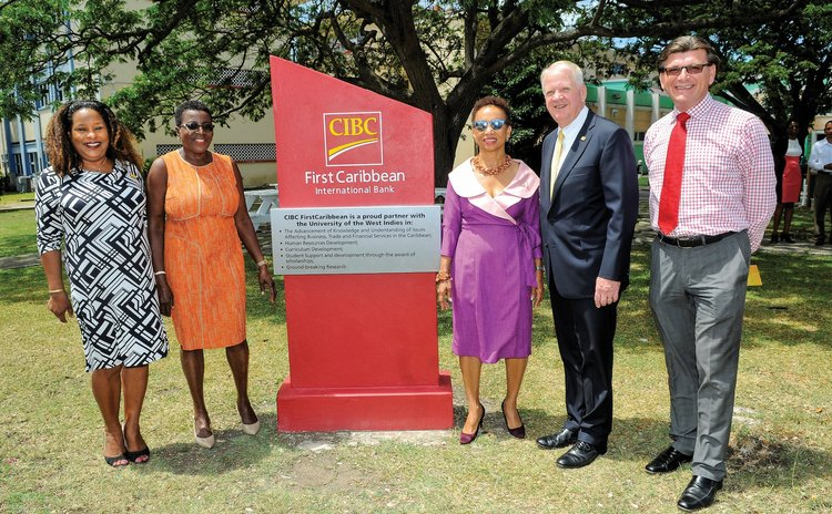 Officials of UWI and FirstCaribbean Bank unveil plaque at Cave Hill, UWI