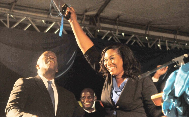 Monelle Williams and political leader Lennox Linton at launch