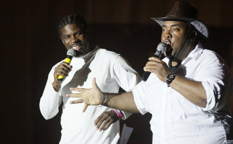 "Val ""Young Bull"" Cuffy, right,and Alex Bruno as MC'S at the 2013 Calypso Finals"