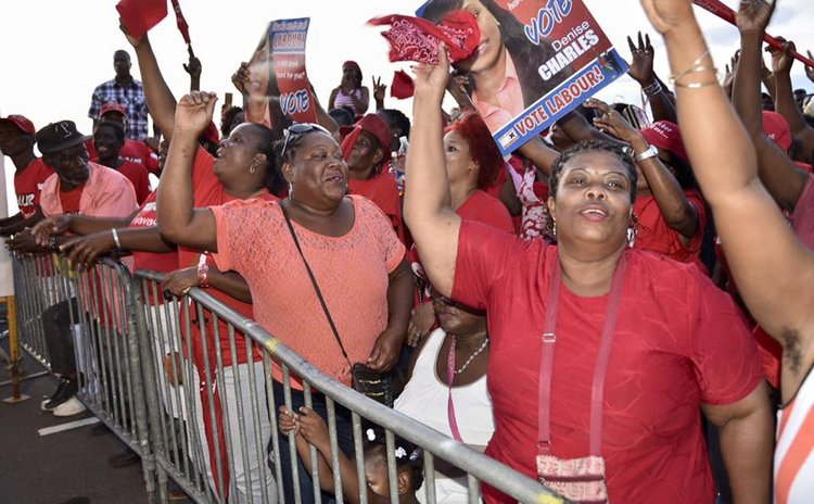 Dominica Labour Party supporters campaign for Denise Charles in bye election in the Soufriere constituency in 2016