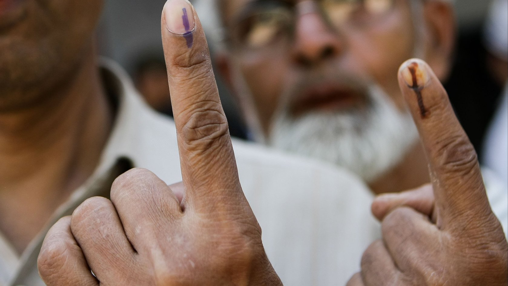 Fingers of voters