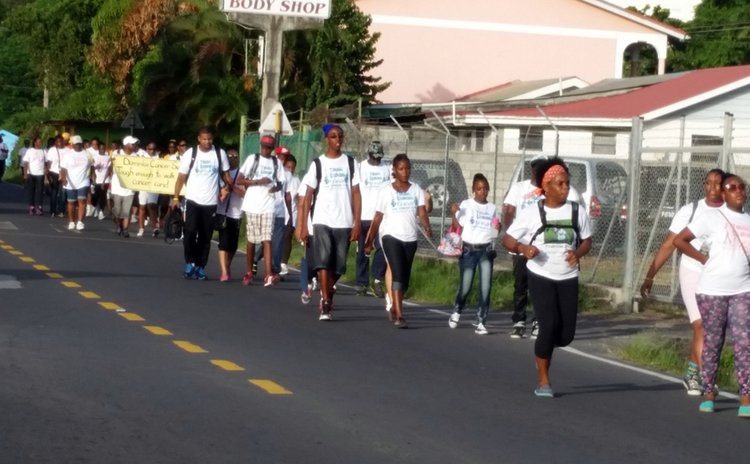 Walking for cancer; the Canfield leg of the walk on Saturday at 5.00 pm