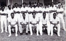 Walsh, front row extreme right and other members of the Dominica Cricket Team