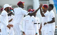West Indies celebrate taking another wicket