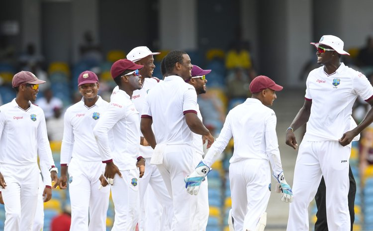 Captain Jason Holder, extreme right, and the West Indies team in 2017