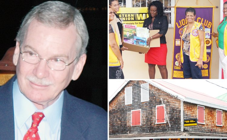 Gerry Aird,doantion to Roseau Primary School and Western Union building