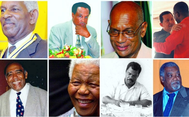 Top, left to right-President Vernon Shaw; Dr Donny Robinson; Edward Alexander;President Shavez; Bottom, left to right-Ossie Symes;President Mandella; Mishack Linton and Ferdinand Frampton