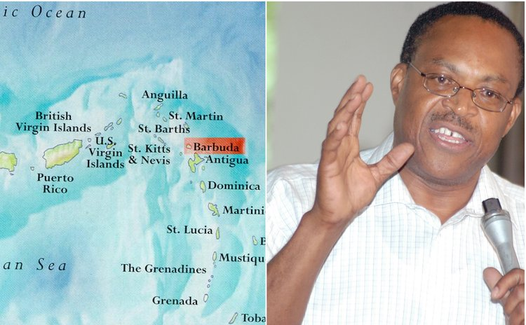 Bernard Wiltshire, right, and map of the Caribbean