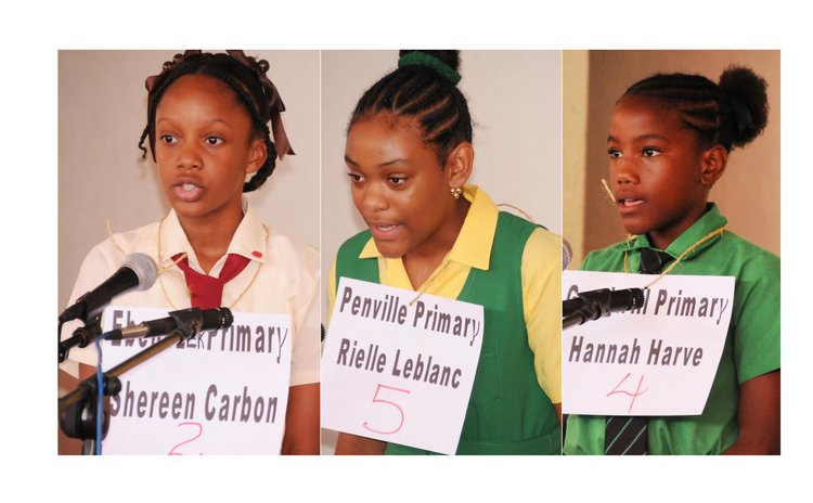 Left to right: First, second and third placed winners of the 2018 Creole Spelling Bee Competition
