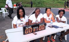 All-ladies team of table officials, DABA 3x3 game, 2020. Photo: DABA Facebook Page