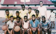 Young basketballers at S.M.A. cerc. 50 years ago, with Bro. W.A. Stevens, coach of Dominica's 1st State Basketball Team