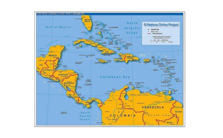 Map of Caribbean & Latin America