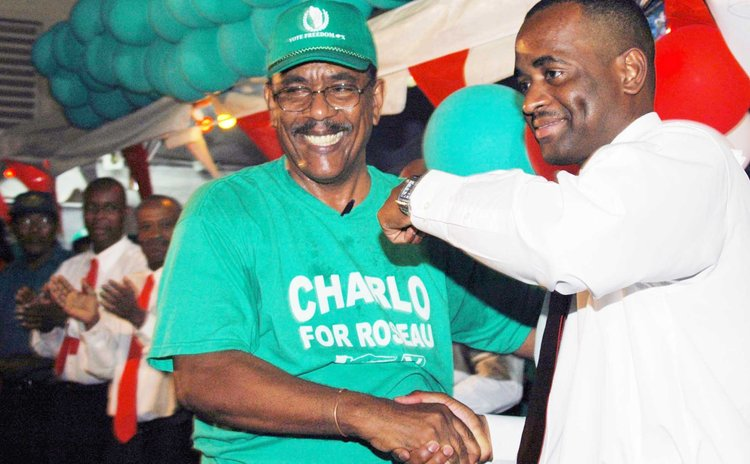 PM Skerrit and Charles Savarin at political rally in 2005