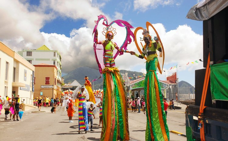 Africulture Stilt Walkers on the Bayfront on Carnival Tuesday 2017