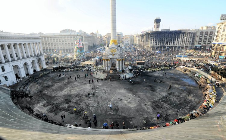 KIEV, Feb. 21, 2014 (Xinhua) -- Photo taken on Feb. 21, 2014 shows a view of the Independence Square in Kiev, Ukraine.