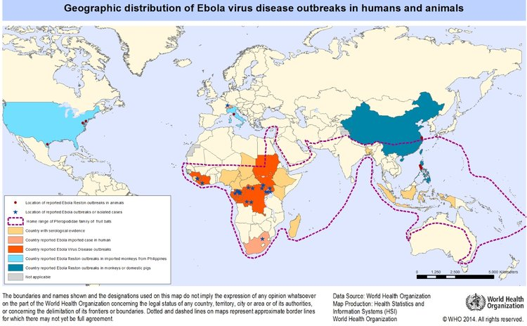 Geographic distribution of ebola