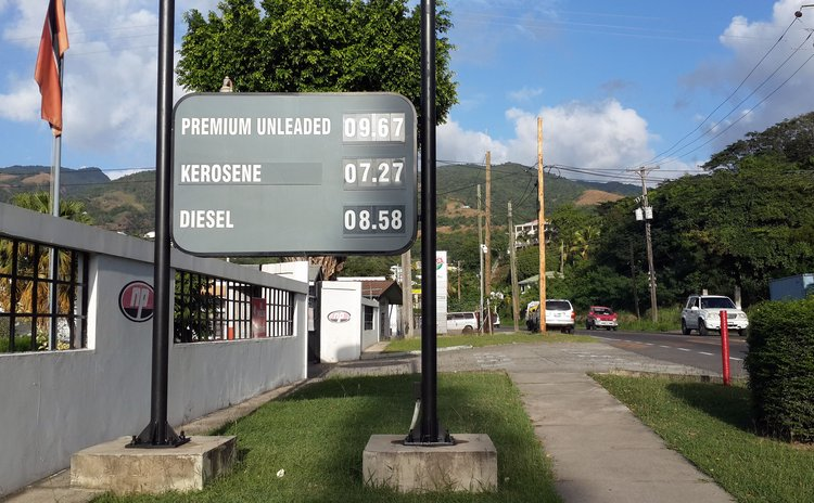 Sign outside the NP gas station in Canefield showing February 2016 gas prices