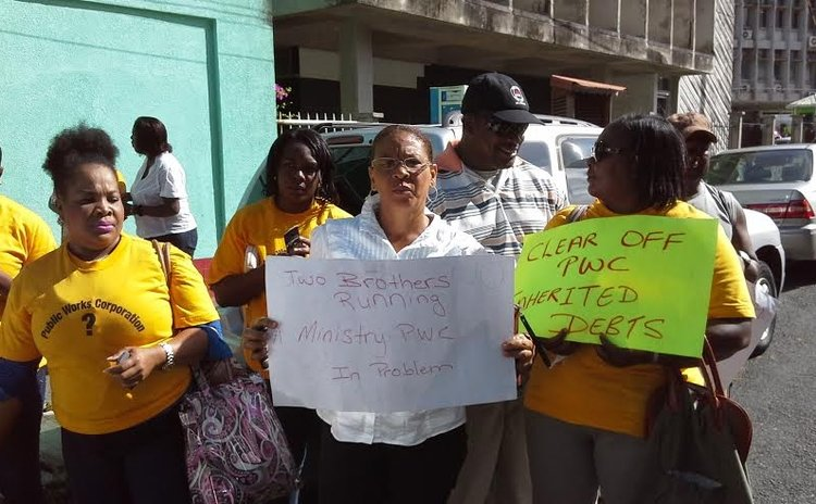 Workers of the Public Works Department protest